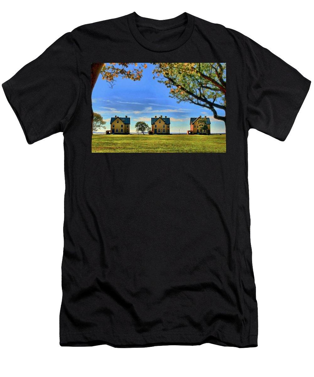 Barracks Men's T-Shirt (Athletic Fit) featuring the photograph Officer's Row by DJ Florek