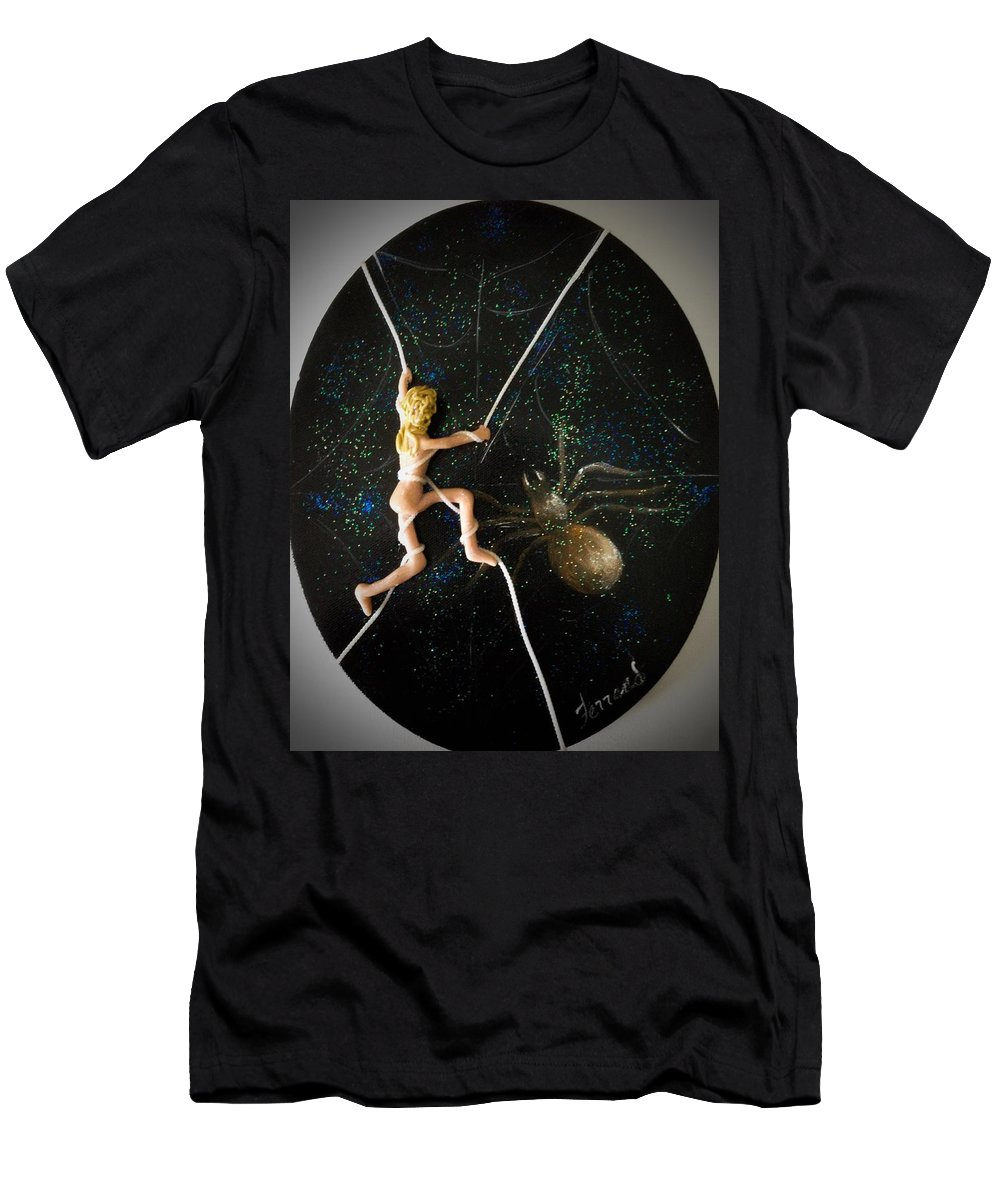 Spider Men's T-Shirt (Athletic Fit) featuring the painting Oh What A Wicked Web by Karen Ferrand Carroll