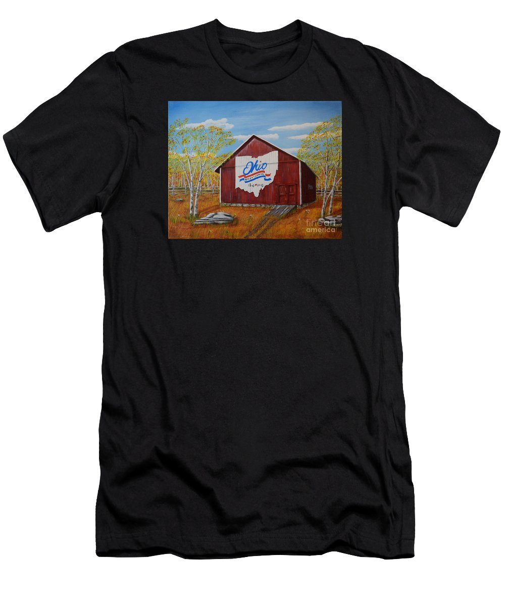 Bicentennial Barns Ohio Men's T-Shirt (Athletic Fit) featuring the painting Ohio Bicentennial Barns 22 by Melvin Turner