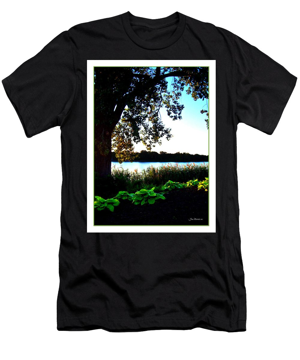 Blue Men's T-Shirt (Athletic Fit) featuring the photograph Ohio Pond by Joan Minchak