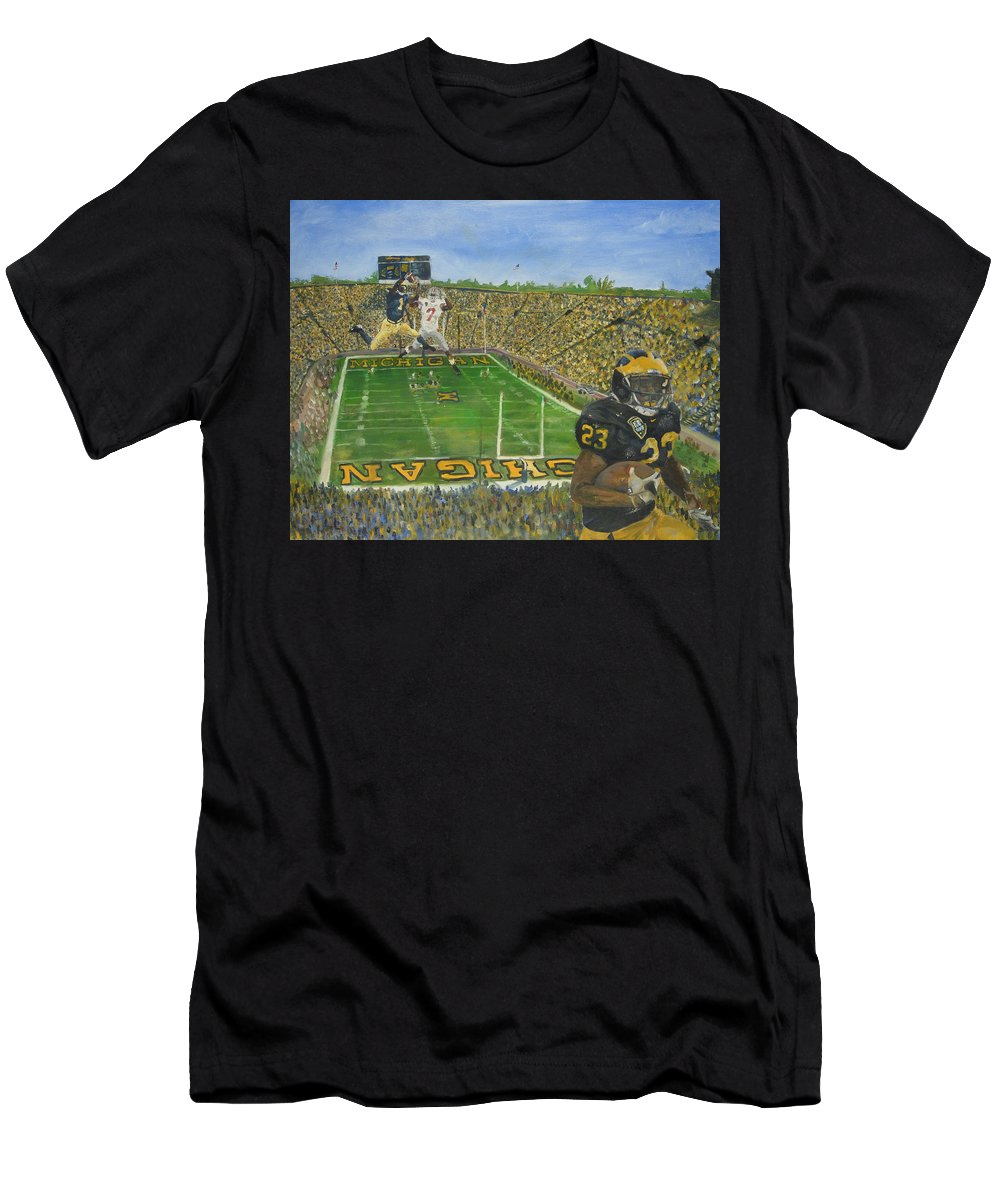 Michigan Men's T-Shirt (Athletic Fit) featuring the painting Ohio State Vs. Michigan 100th Game by Travis Day