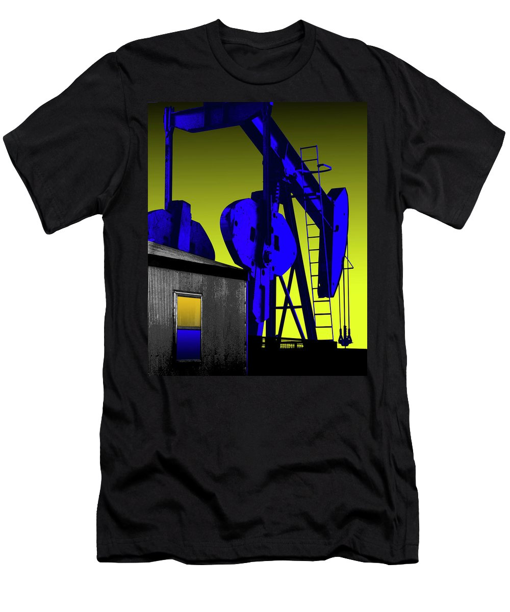Oil Gas Industry Pump Jack Well Oilfield American America Blue Black Production Platform Drilling Rig Geology Exploration Pipeline Refining Up Down Mid Stream Abstract Petroleum Petrochemical Gas Drill Driller Technology Digital Manipulation Texas Men Decor Art Fine Office Industrial Wells Pumps Graphic Photograph Photo Image Arty Oilwell Offshore Energy Pumpjack Barrel Art Crude Oilman Toolpusher Men's T-Shirt (Athletic Fit) featuring the photograph Oil Industry Well Pump by Dennis Thompson