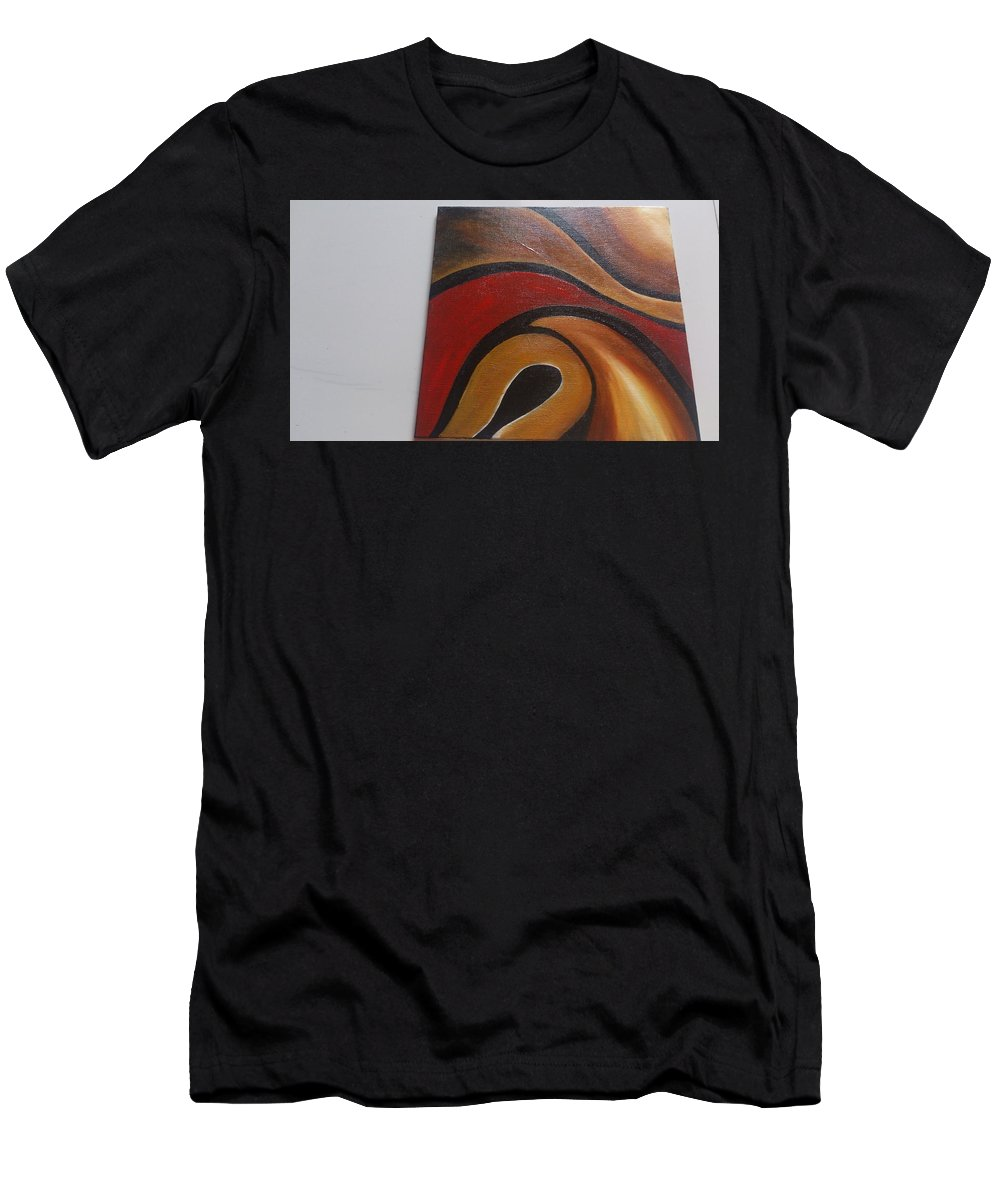 Oil On Canvas Abstract Art Men's T-Shirt (Athletic Fit) featuring the painting Oil On Canvas by Ashimukta Khag