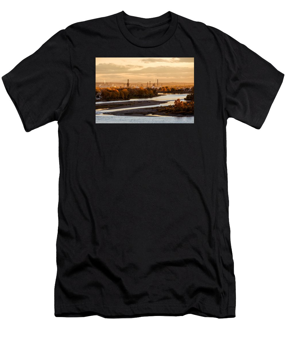 Billings Men's T-Shirt (Athletic Fit) featuring the photograph Oil Refinery At Sunset by Todd Klassy