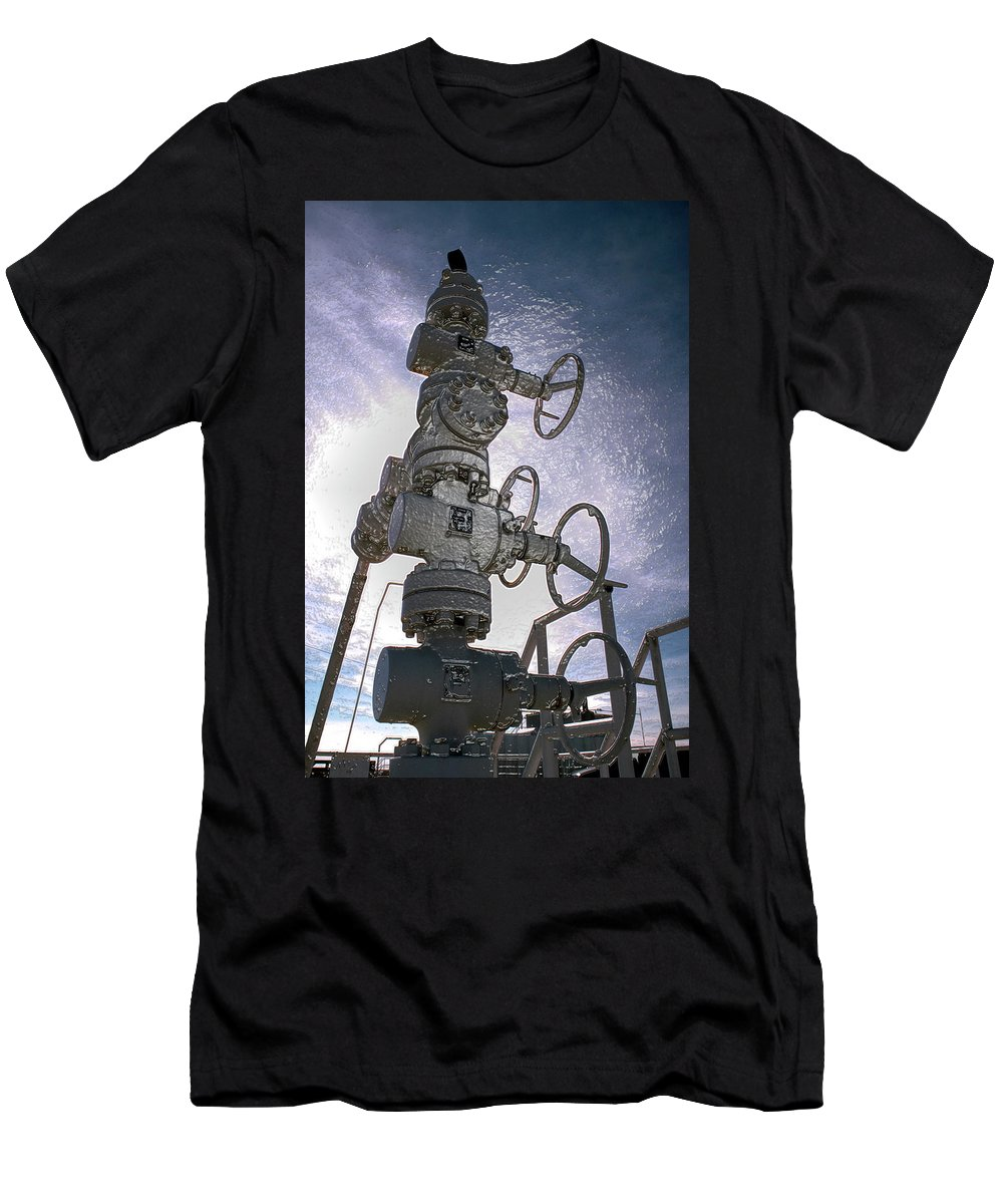 Oil Gas Industry Pump Jack Well Oilfield American America Blue Black Production Platform Drilling Rig Geology Exploration Pipeline Refining Up Down Mid Stream Abstract Petroleum Petrochemical Gas Drill Driller Technology Digital Manipulation Texas Men Decor Art Fine Office Industrial Wells Pumps Graphic Photograph Photo Image Arty Oilwell Offshore Energy Pumpjack Barrel Art Crude Oilman Toolpusher Men's T-Shirt (Athletic Fit) featuring the photograph West Texas Oil Well #1 by Dennis Thompson