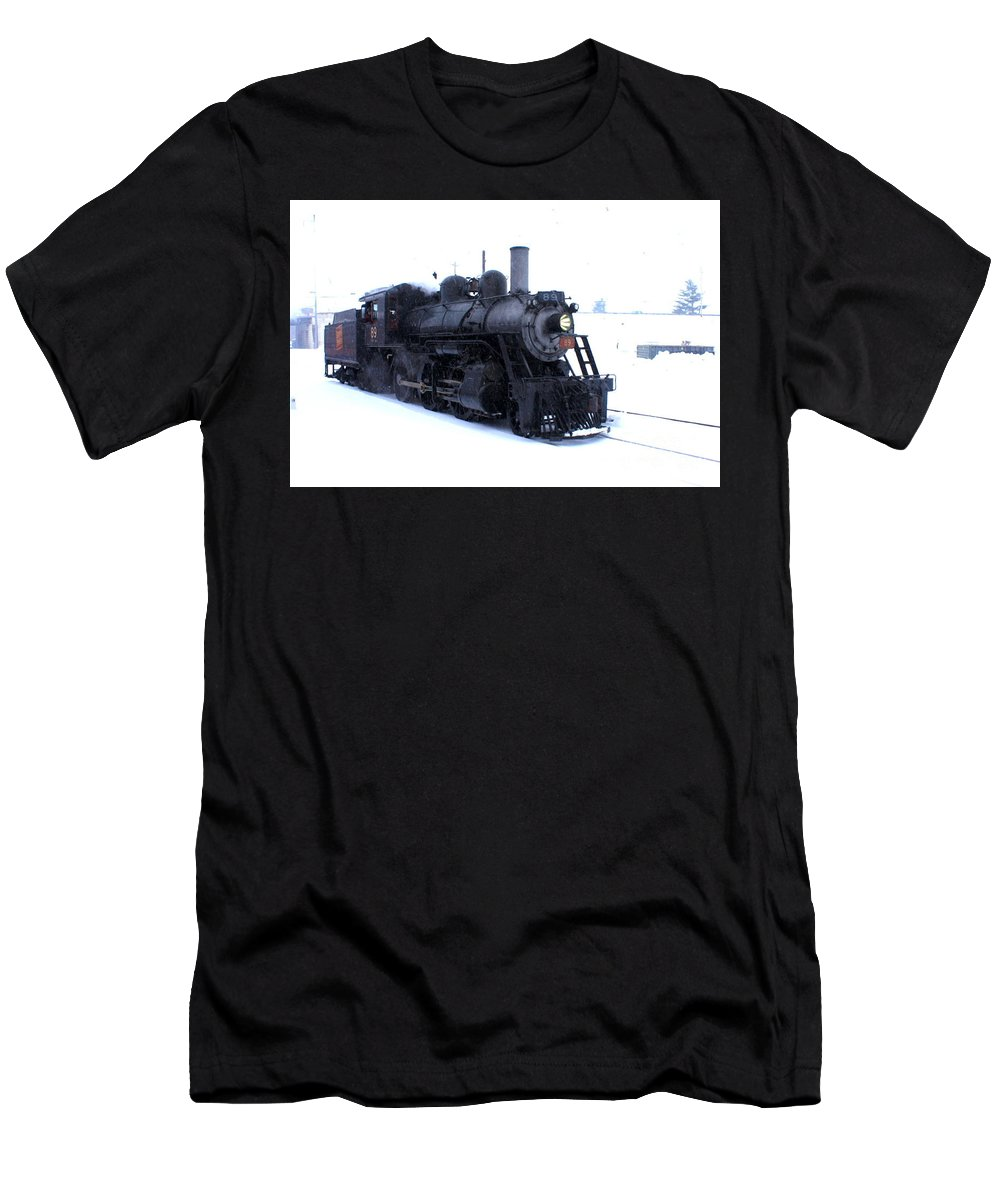 This Is A Photo Of Steam Engine Number 89 Ran On The Strausburg Railroad In Strasburg Pa During A Snow Shower.  Men's T-Shirt (Athletic Fit) featuring the photograph Old 89 Is Passing By by William Rogers