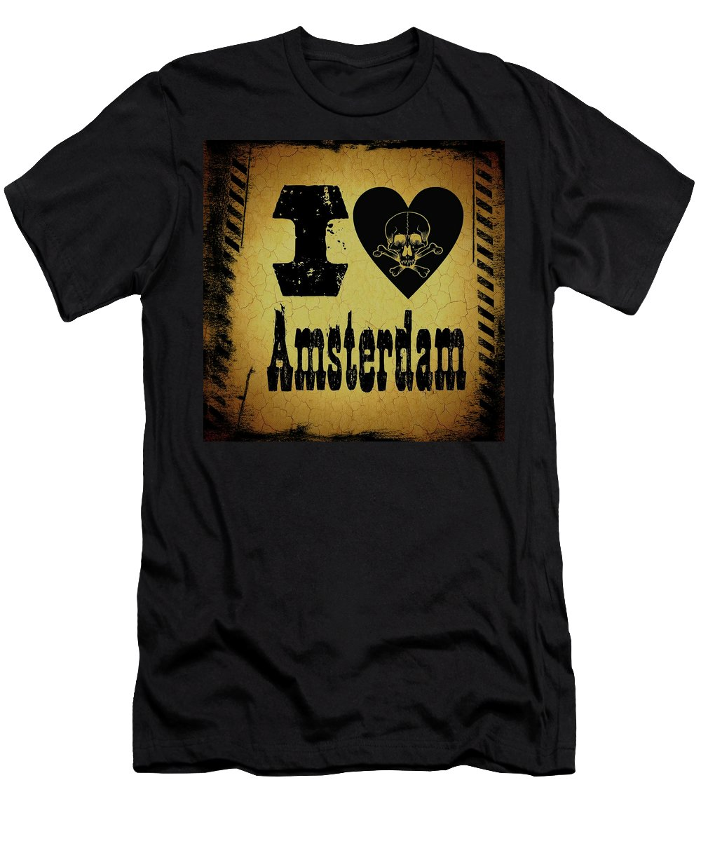 Amsterdam Men's T-Shirt (Athletic Fit) featuring the digital art Old Amsterdam by Randolph Ping