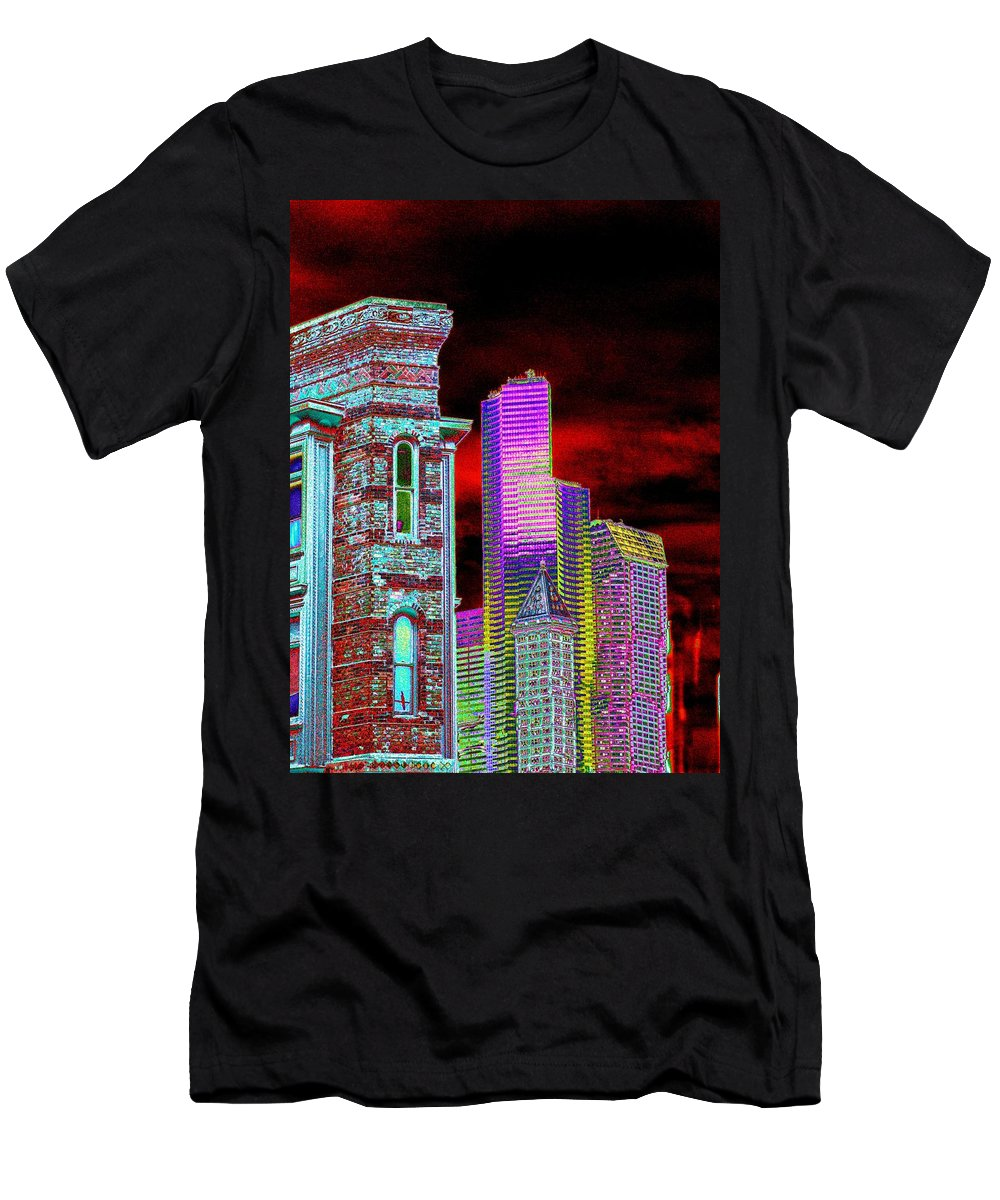 Seattle Men's T-Shirt (Athletic Fit) featuring the digital art Old And New Seattle by Tim Allen