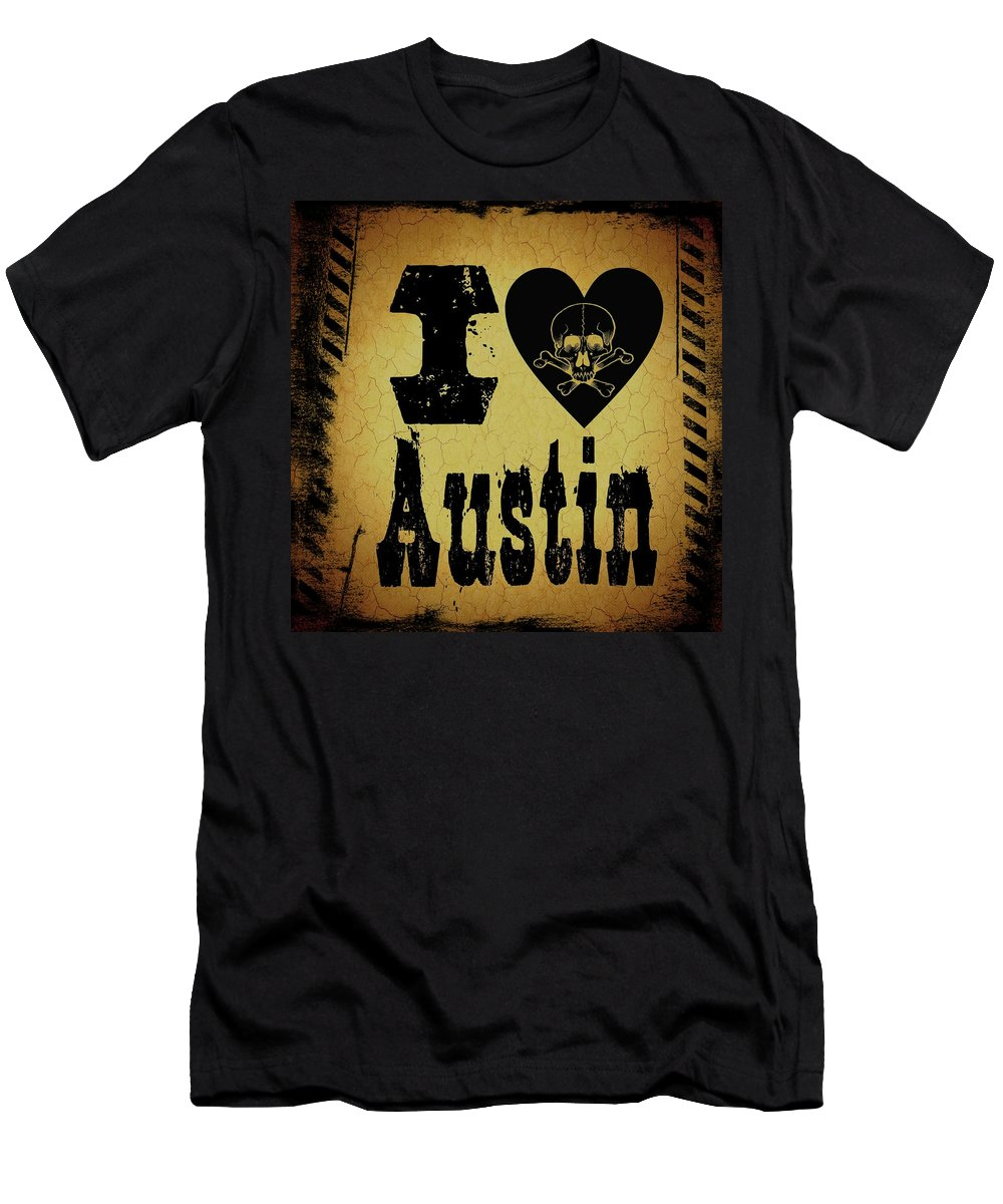Austin Men's T-Shirt (Athletic Fit) featuring the digital art Old Austin by Randolph Ping