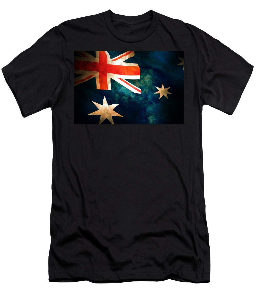 Australia Men's T-Shirt (Athletic Fit) featuring the photograph Old Australian Flag by Phill Petrovic