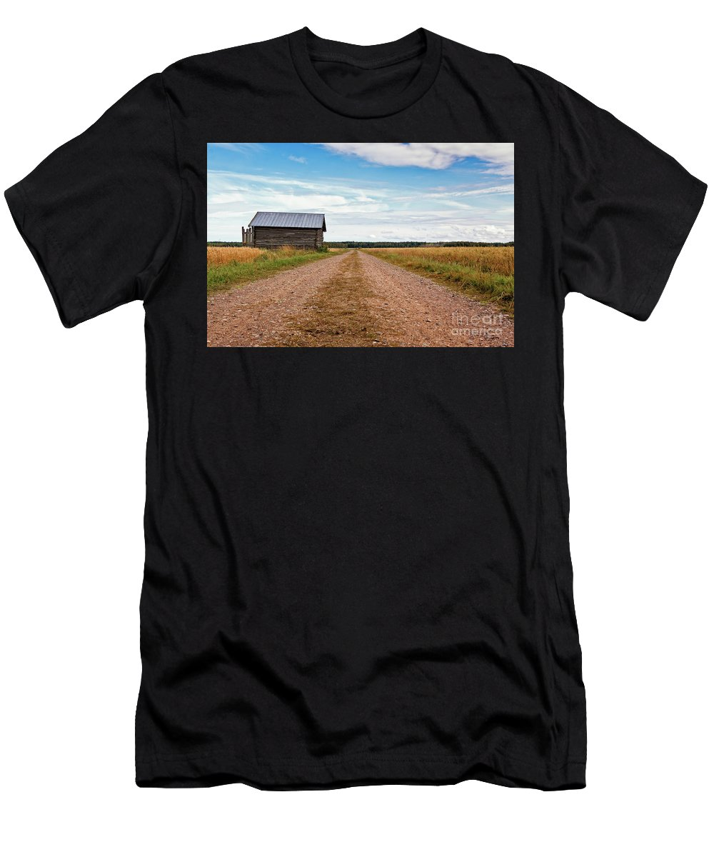 Copy Space Men's T-Shirt (Athletic Fit) featuring the photograph Old Barn By The Gravel Road by Jukka Heinovirta