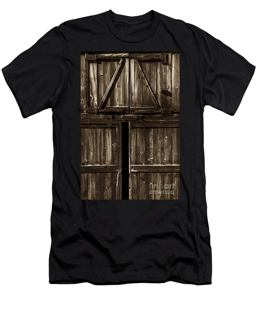 Barn Men's T-Shirt (Athletic Fit) featuring the photograph Old Barn Door - Toned by Paul W Faust - Impressions of Light