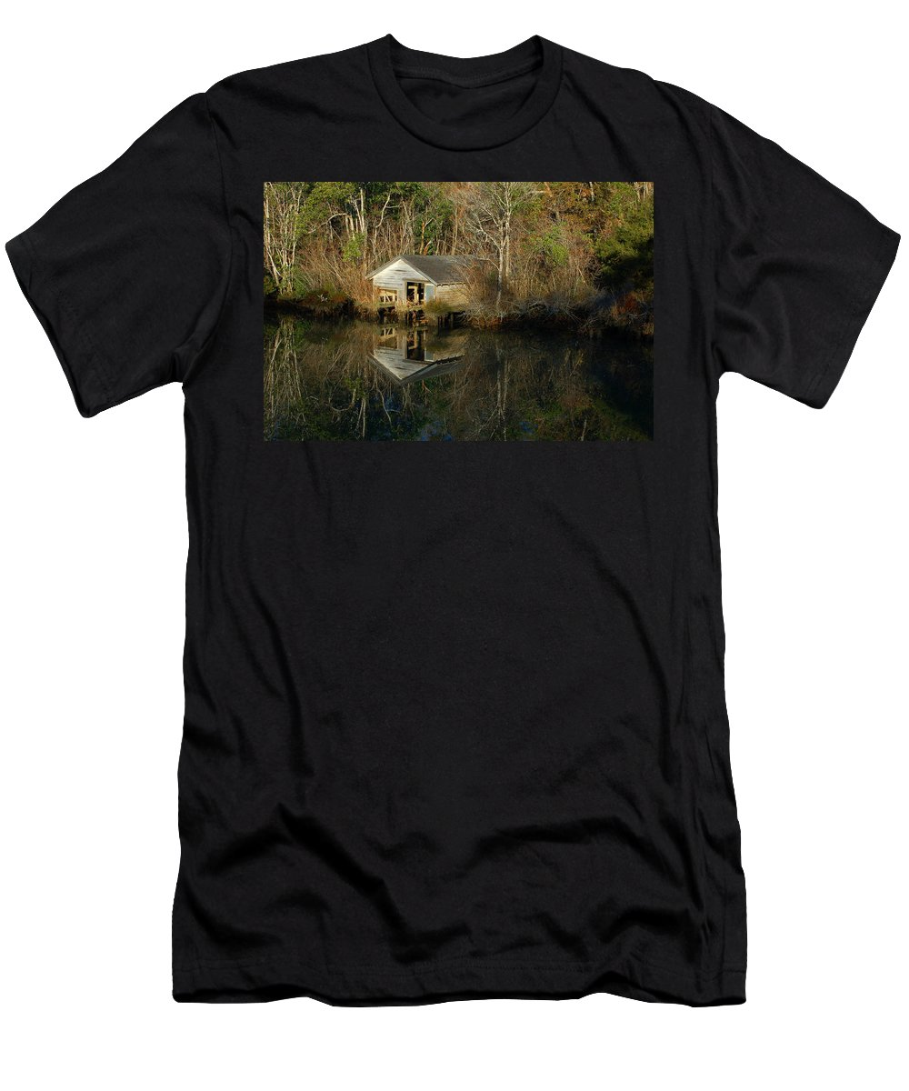Men's T-Shirt (Athletic Fit) featuring the digital art Old Boat House by Michael Thomas
