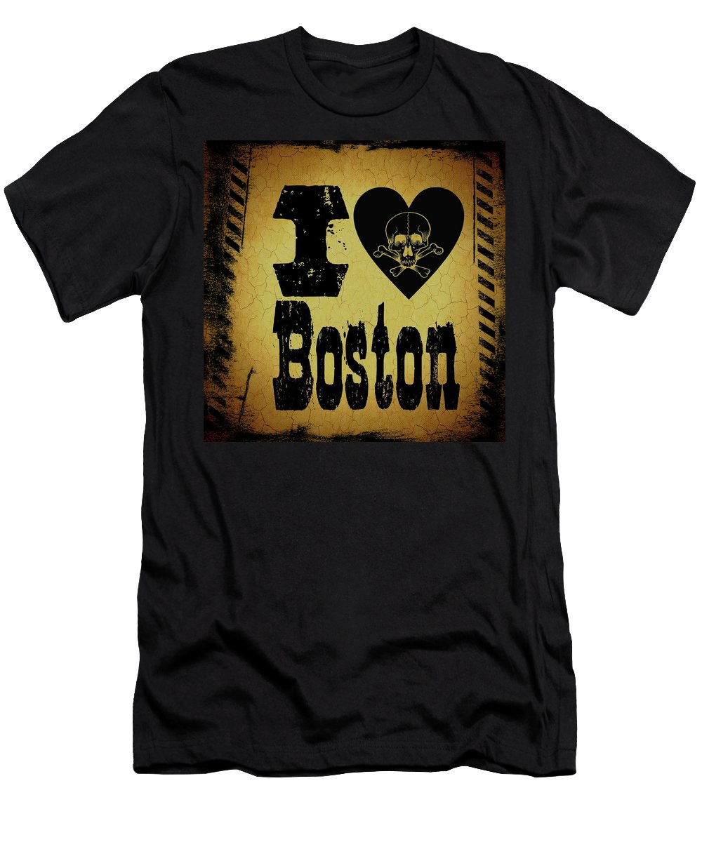 Boston Men's T-Shirt (Athletic Fit) featuring the digital art Old Boston by Randolph Ping