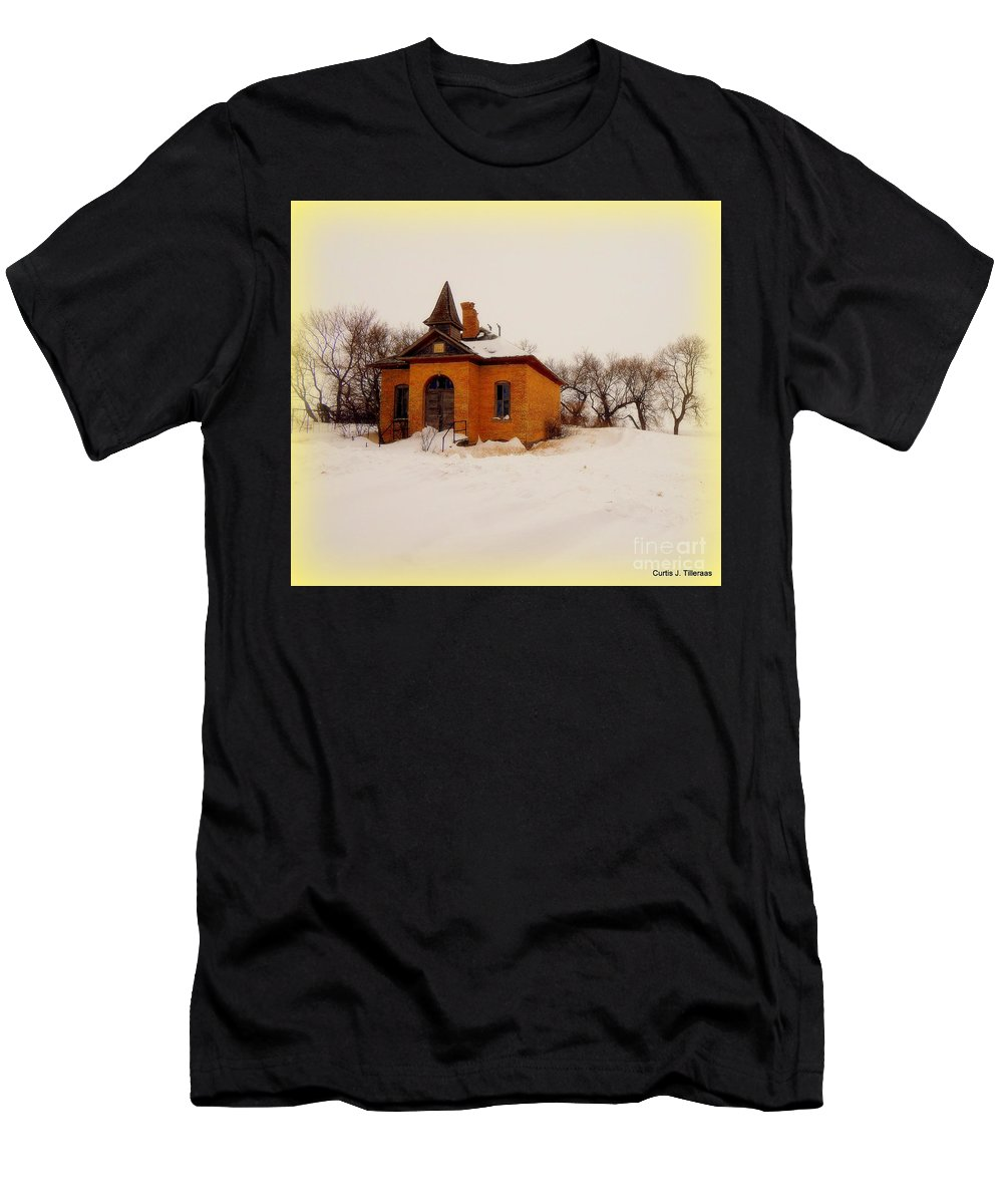 School Men's T-Shirt (Athletic Fit) featuring the photograph Old Brick Schoolhouse In Winter by Curtis Tilleraas