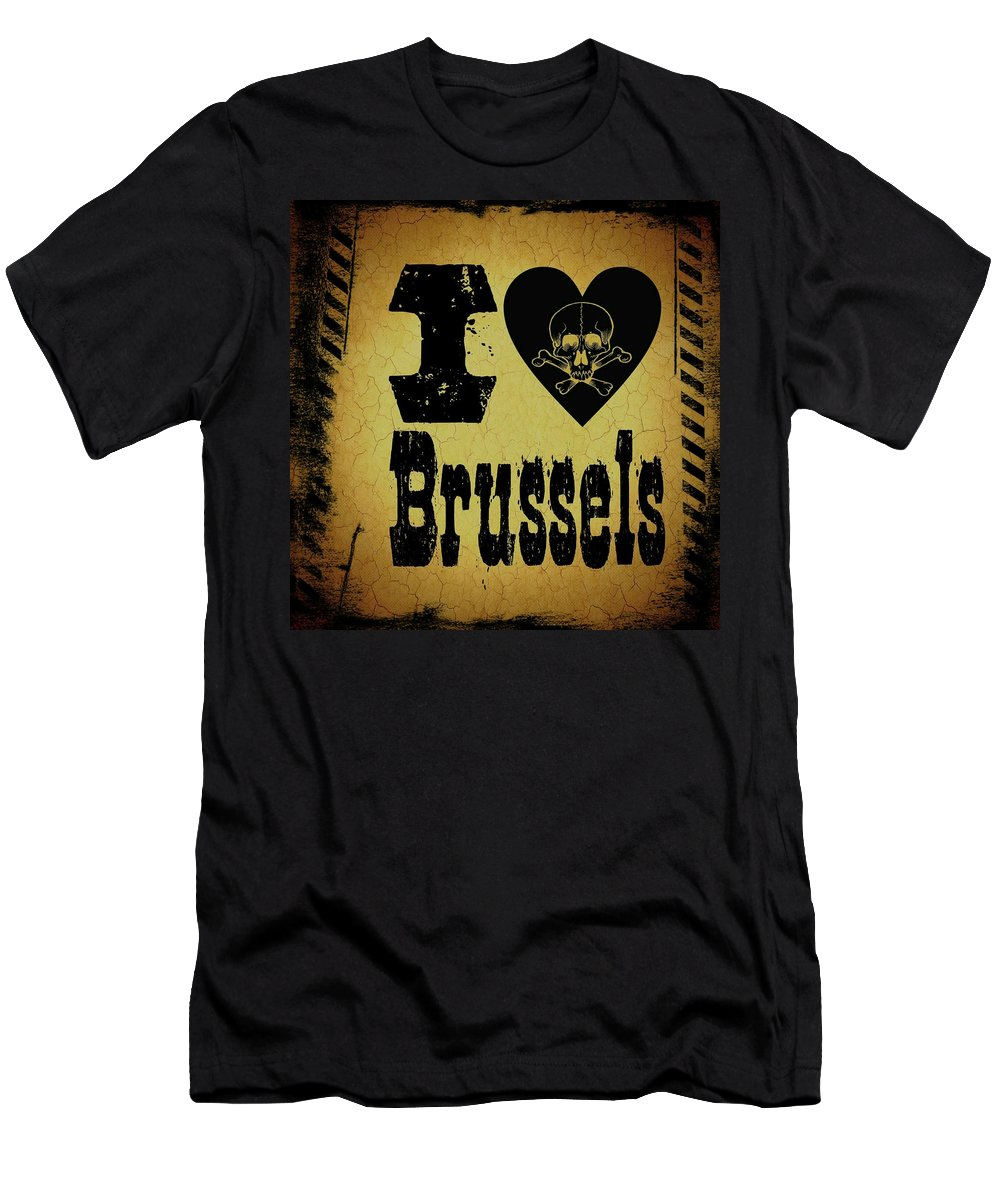 Brussels Men's T-Shirt (Athletic Fit) featuring the digital art Old Brussels by Randolph Ping
