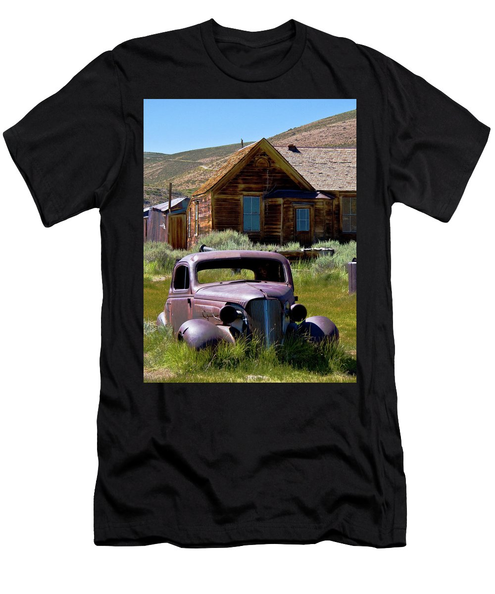 Vintage Vehicle Men's T-Shirt (Athletic Fit) featuring the photograph Old Car At Bodie 2 by Chris Brannen