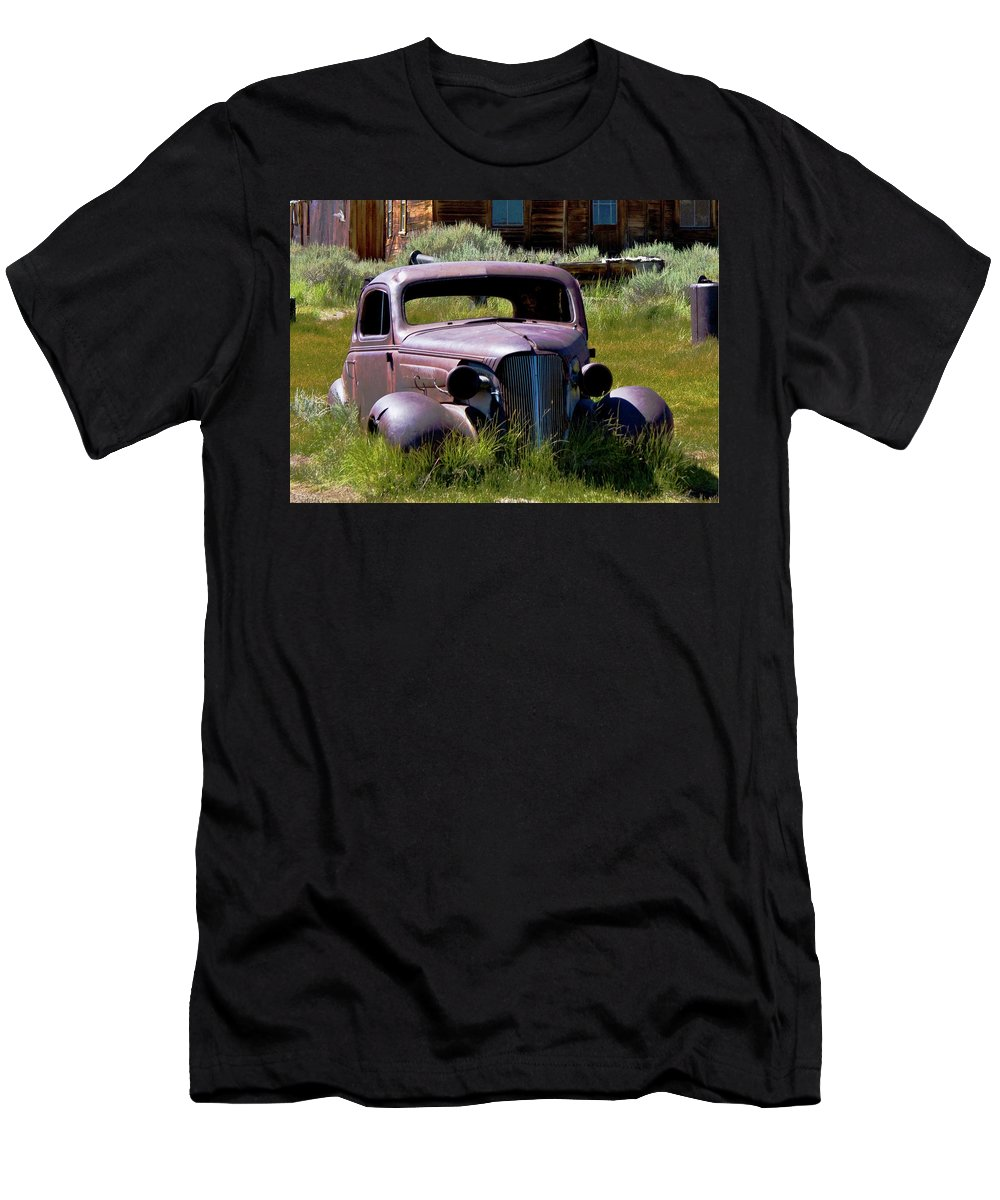 Vintage Vehicle Men's T-Shirt (Athletic Fit) featuring the photograph Old Car At Bodie 3 by Chris Brannen