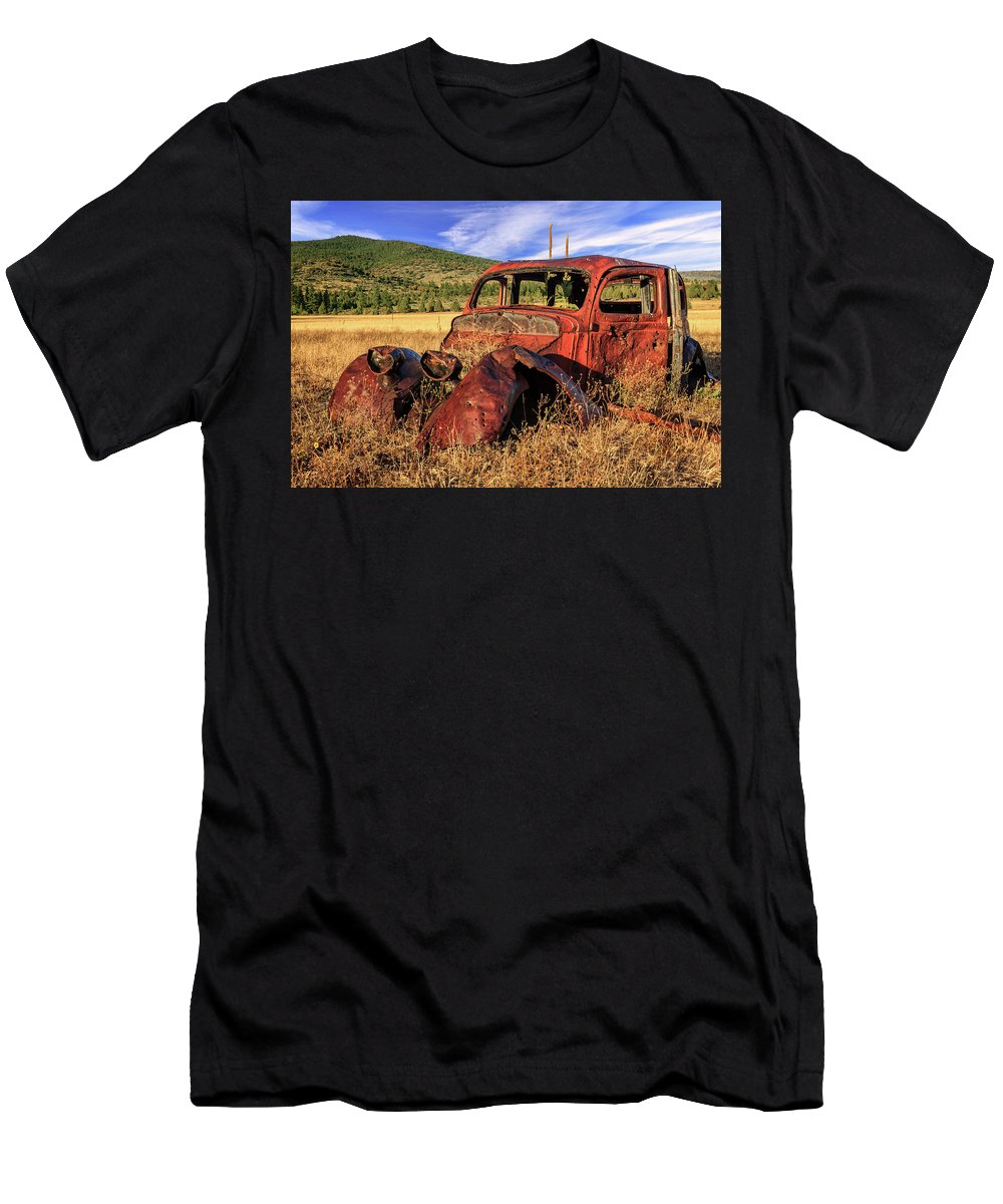Rusty Men's T-Shirt (Athletic Fit) featuring the photograph Old Car At Susanville Ranch by James Eddy