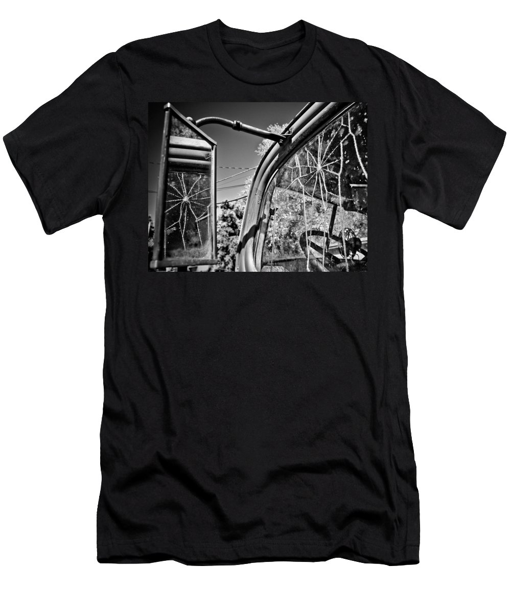 Americana Men's T-Shirt (Athletic Fit) featuring the photograph Old Cracked Glass Spider Web by Marilyn Hunt