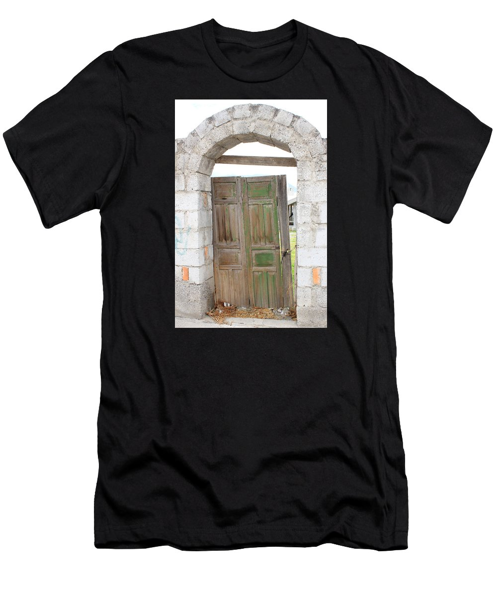 Door Men's T-Shirt (Athletic Fit) featuring the photograph Old Door In A Brick Wall by Robert Hamm
