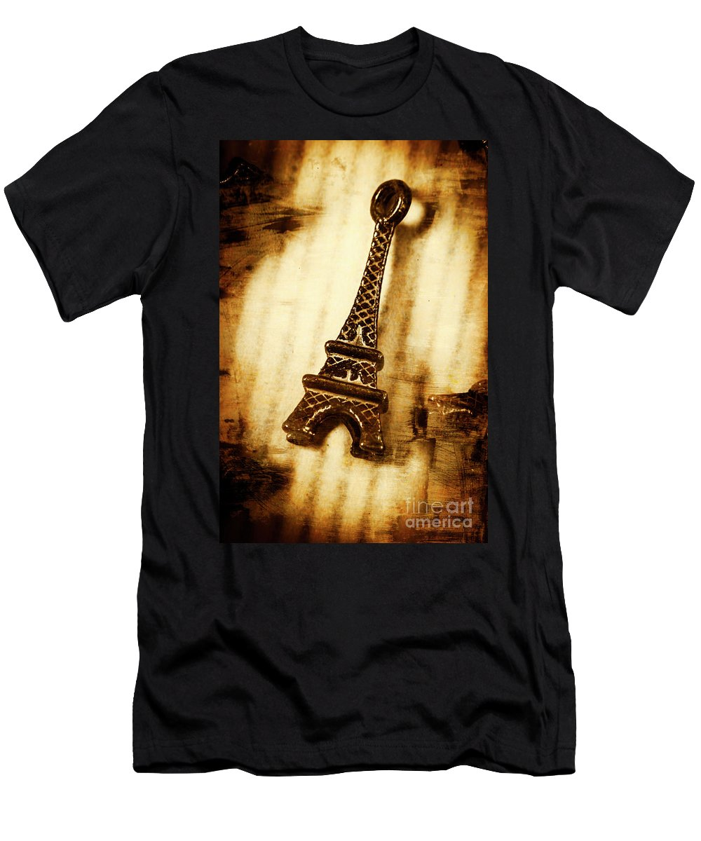 Souvenir Men's T-Shirt (Athletic Fit) featuring the photograph Old Fashion Eiffel Tower Souvenir by Jorgo Photography - Wall Art Gallery