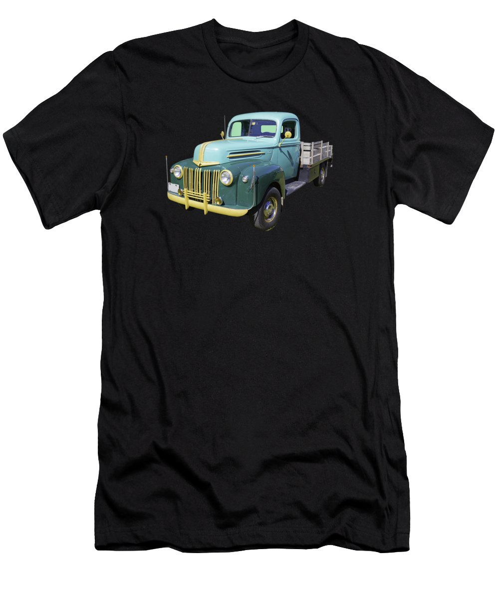 Antique Men's T-Shirt (Athletic Fit) featuring the photograph Old Flat Bed Ford Work Truck by Keith Webber Jr