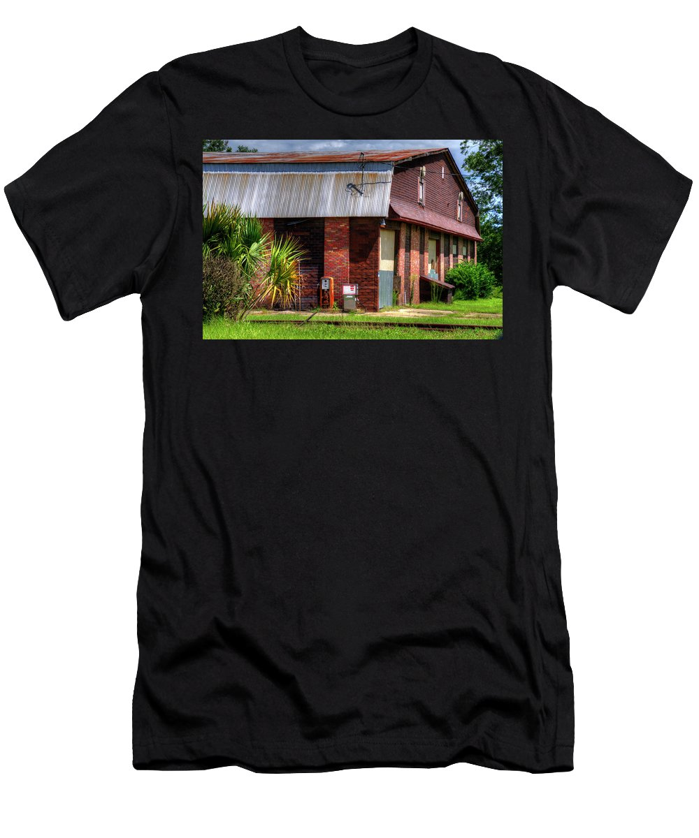 Art Prints Men's T-Shirt (Athletic Fit) featuring the photograph Old Gas Pumps by TJ Baccari