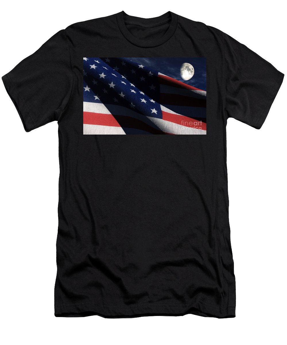 Us Flags Men's T-Shirt (Athletic Fit) featuring the digital art Old Glory 2 by Richard Rizzo
