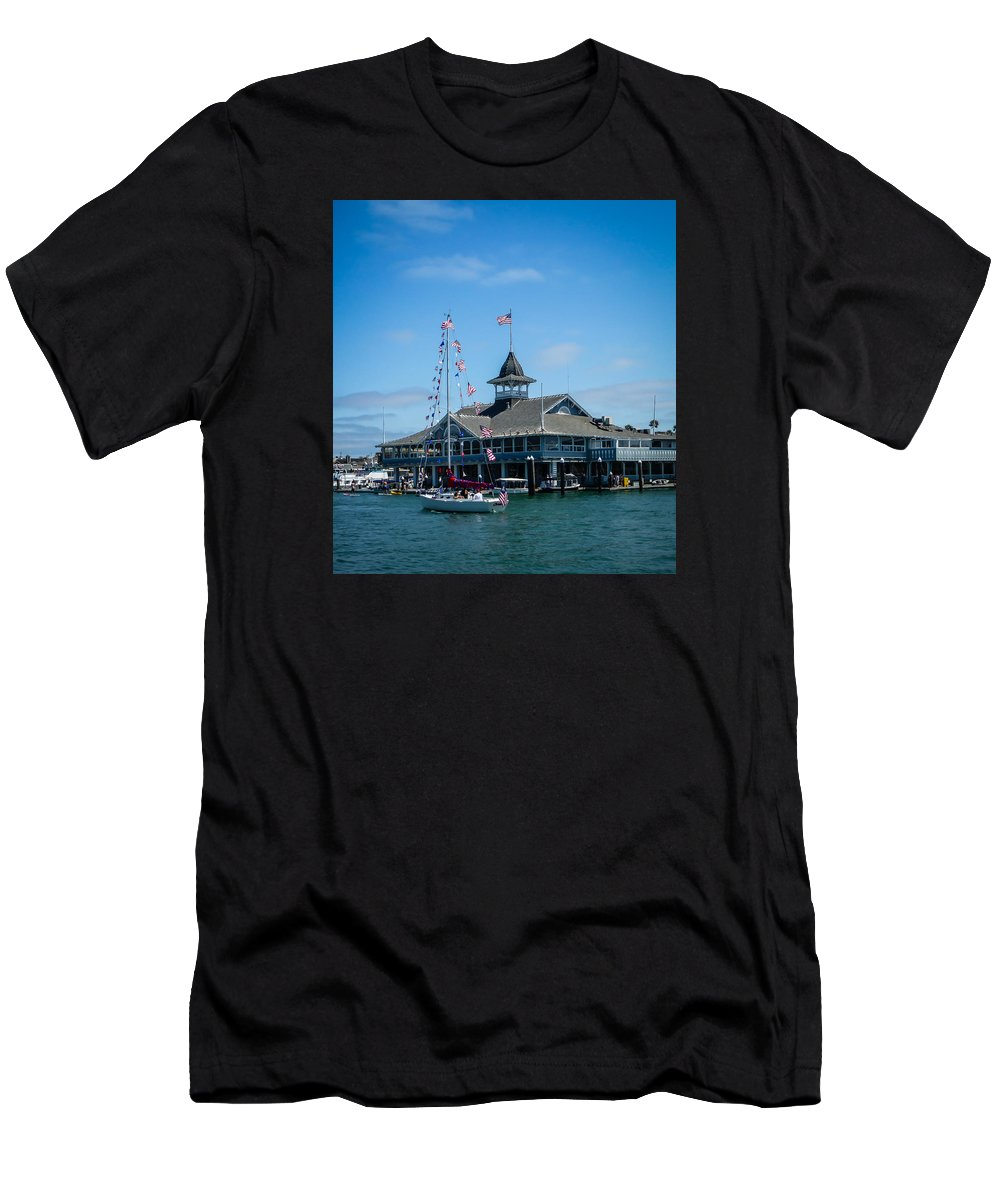 4th Of July Men's T-Shirt (Athletic Fit) featuring the photograph Old Glory Boat Parade by Pamela Newcomb