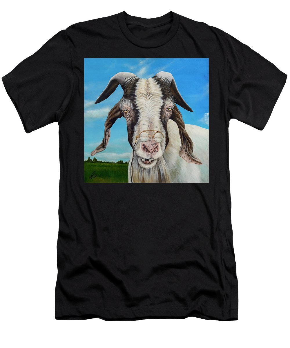 Goat Men's T-Shirt (Athletic Fit) featuring the painting Old Goat - Painting By Cindy Chinn by Cindy D Chinn