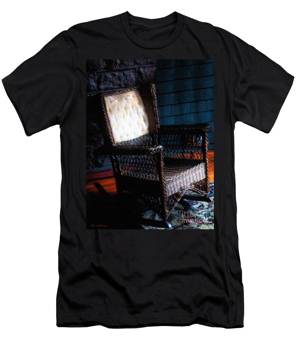Rocking Chair Men's T-Shirt (Athletic Fit) featuring the painting Old Homestead Sunset by RC DeWinter