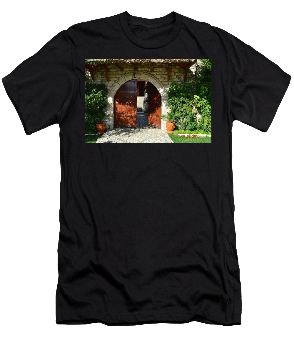 Men's T-Shirt (Athletic Fit) featuring the photograph Old House Door by Nuri Osmani