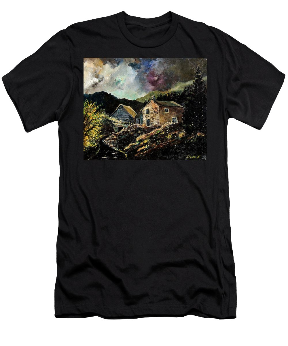 Tree Men's T-Shirt (Athletic Fit) featuring the painting Old Houses 5648 by Pol Ledent