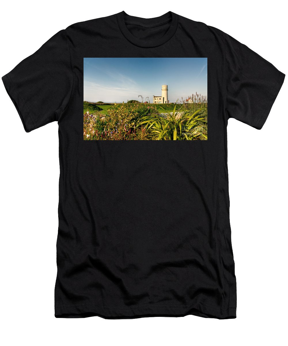 Lighthouse Men's T-Shirt (Athletic Fit) featuring the photograph Old Hunstanton Lighthouse North Norfolk Uk by John Edwards