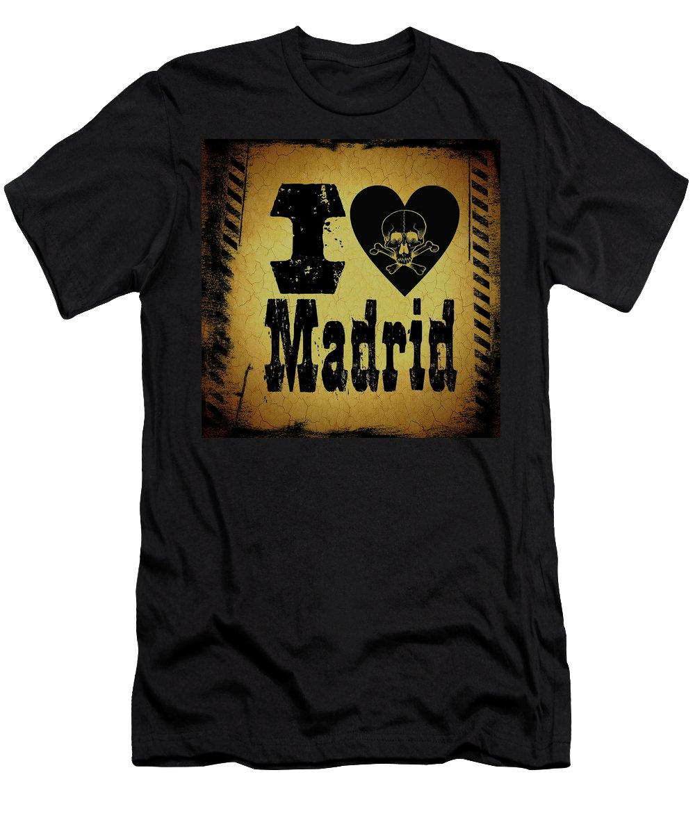 Madrid Men's T-Shirt (Athletic Fit) featuring the digital art Old Madrid by Randolph Ping