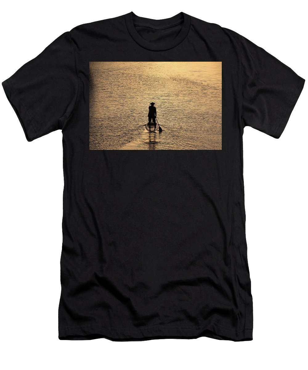 Photosbymch Men's T-Shirt (Athletic Fit) featuring the photograph Old Man Paddling Into The Sunset by M C Hood