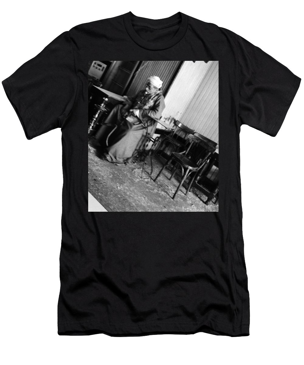 Old Man Cafe Egypt Smoking Galabeya Traditional Cloth Black And White Men's T-Shirt (Athletic Fit) featuring the photograph Old Man Smoking by Mina Milad