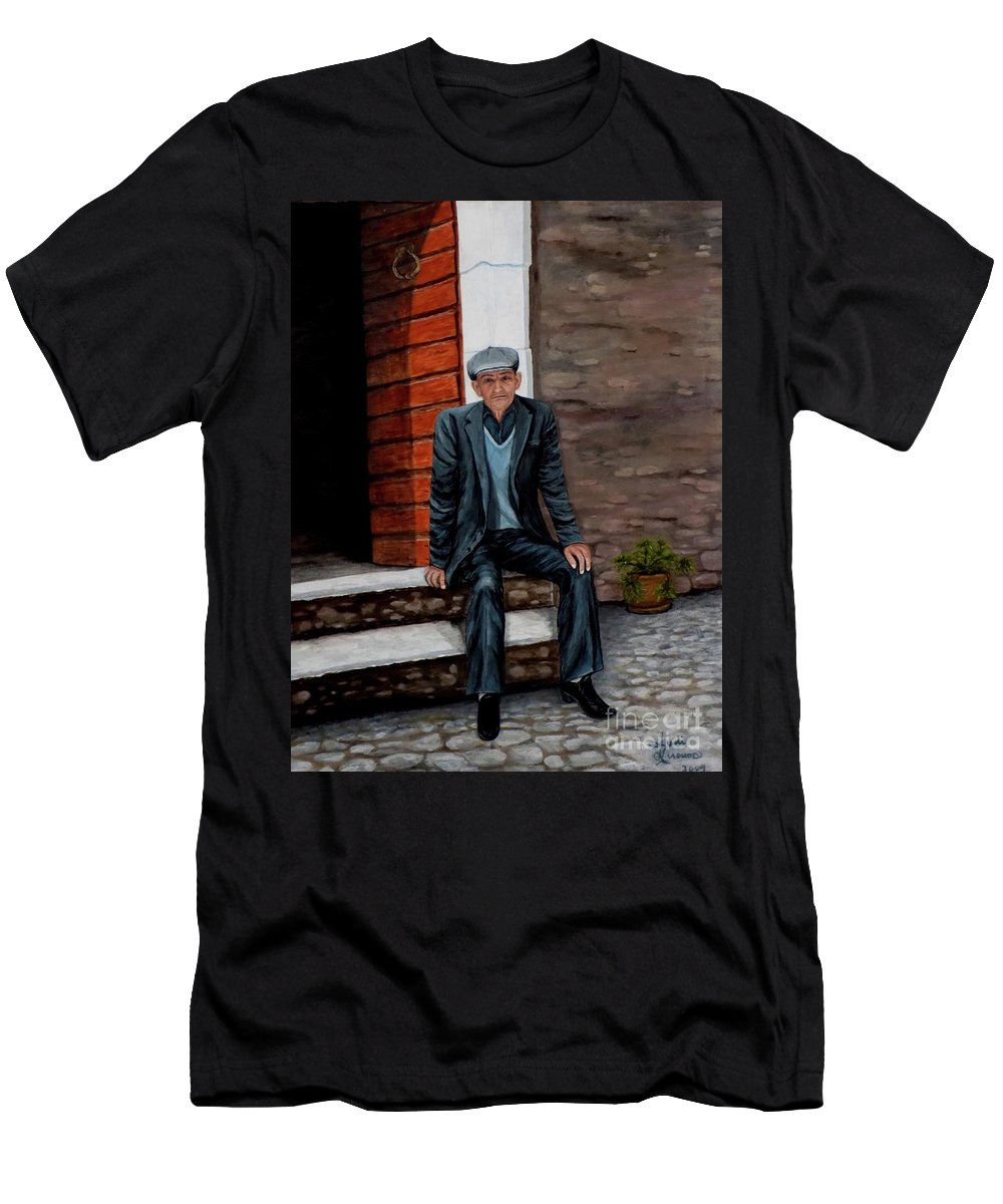 Old Man Men's T-Shirt (Athletic Fit) featuring the painting Old Man Waiting by Judy Kirouac