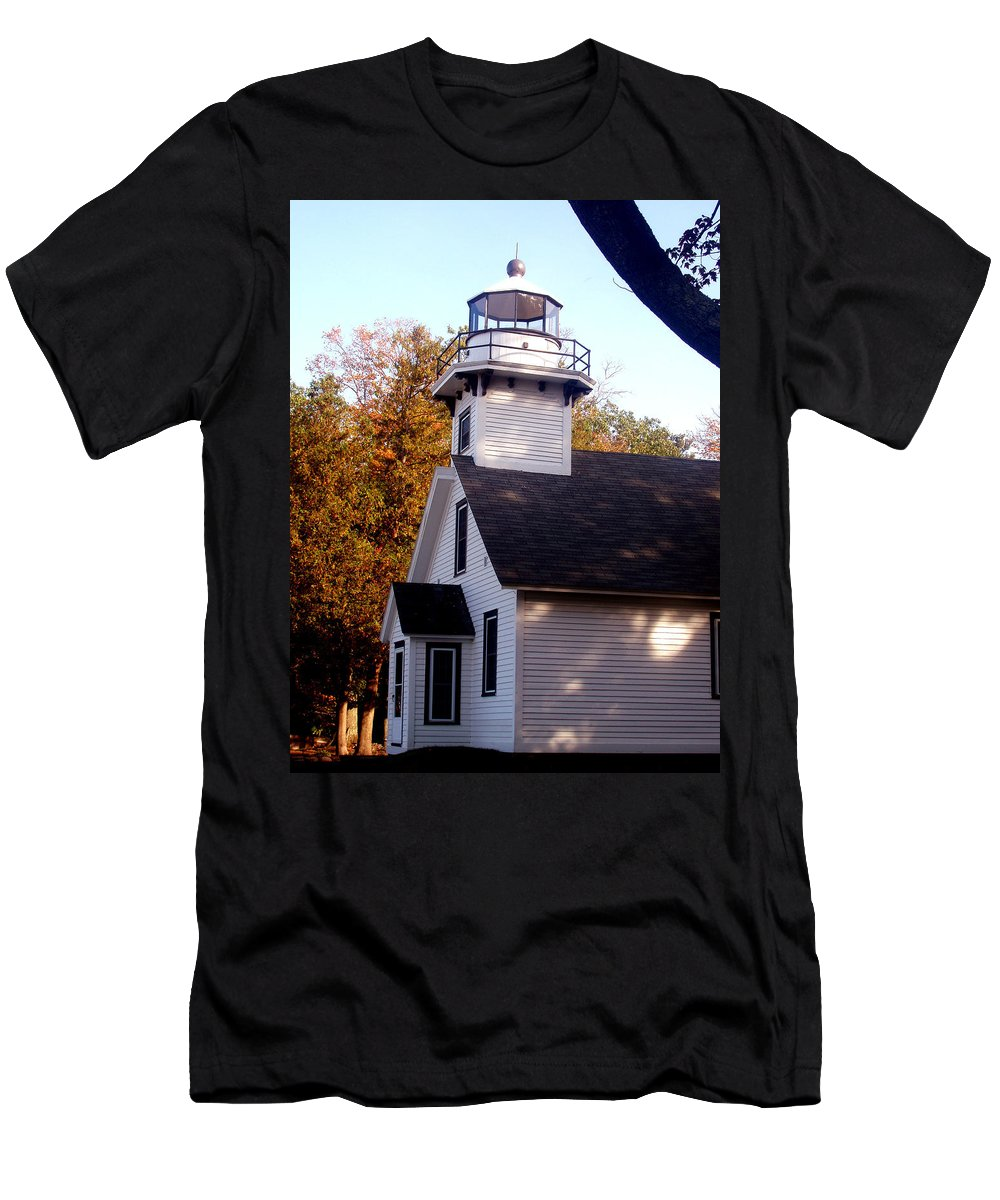 Lighthouse Men's T-Shirt (Athletic Fit) featuring the painting Old Mission Point Light House by Wayne Potrafka