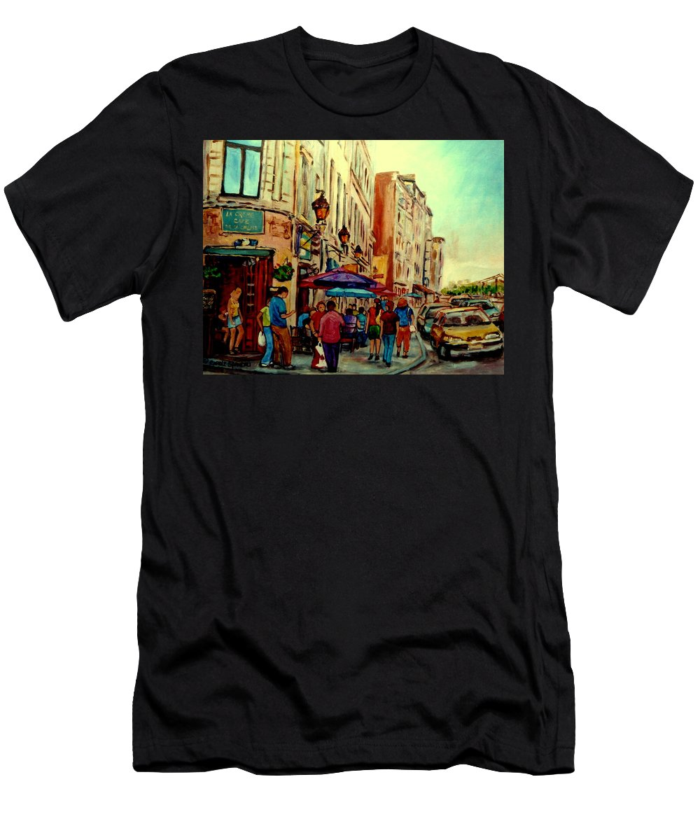 Old Montreal Cafes Men's T-Shirt (Athletic Fit) featuring the painting Old Montreal Cafes by Carole Spandau
