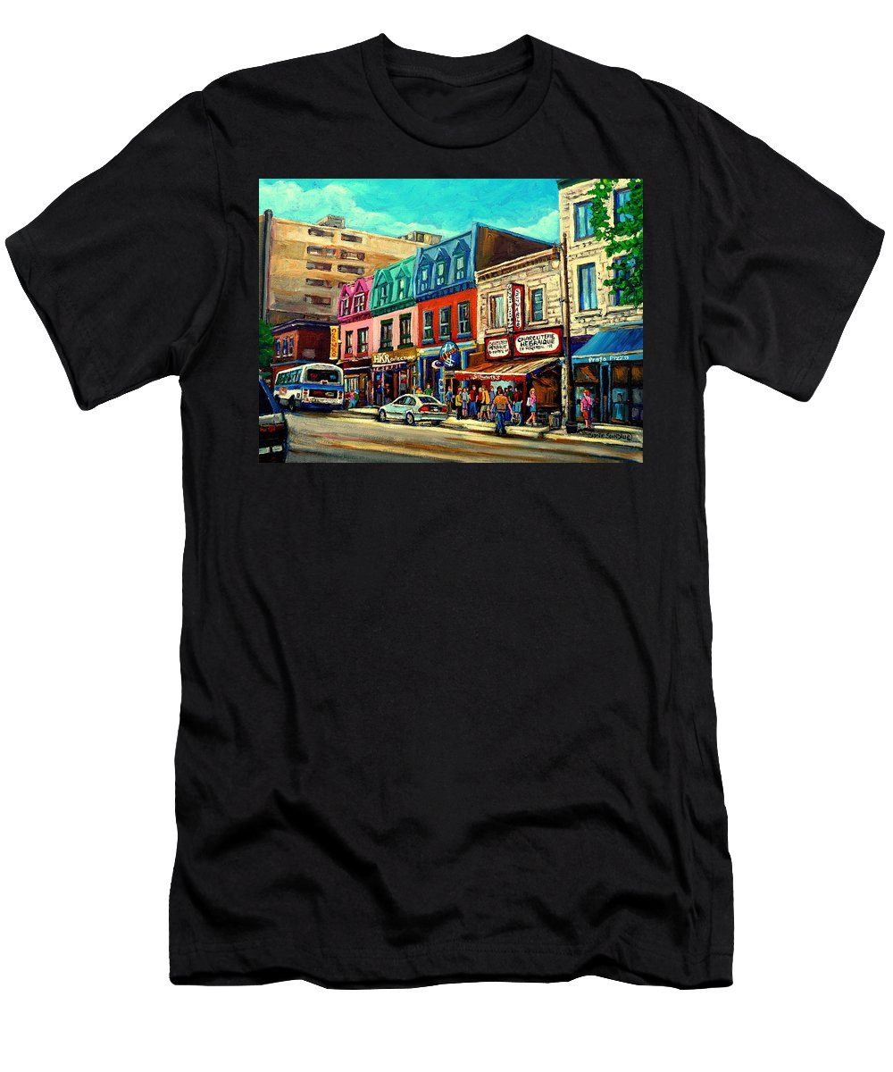 Old Montreal Schwartzs Deli Plateau Montreal City Scenes T-Shirt featuring the painting Old Montreal Schwartzs Deli Plateau Montreal City Scenes by Carole Spandau