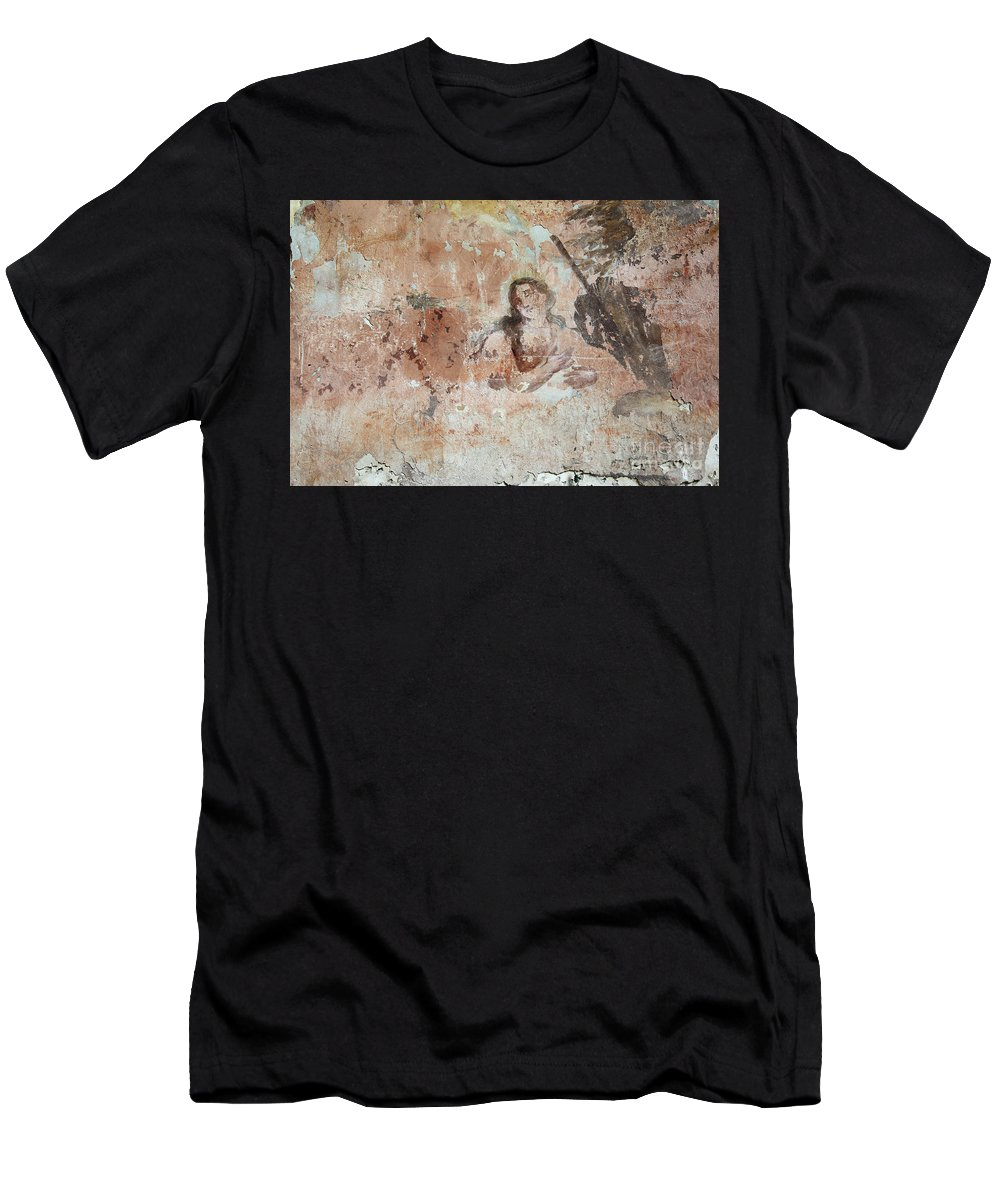 Painting Men's T-Shirt (Athletic Fit) featuring the photograph Old Mural Painting In The Ruins Of The Church by Michal Boubin