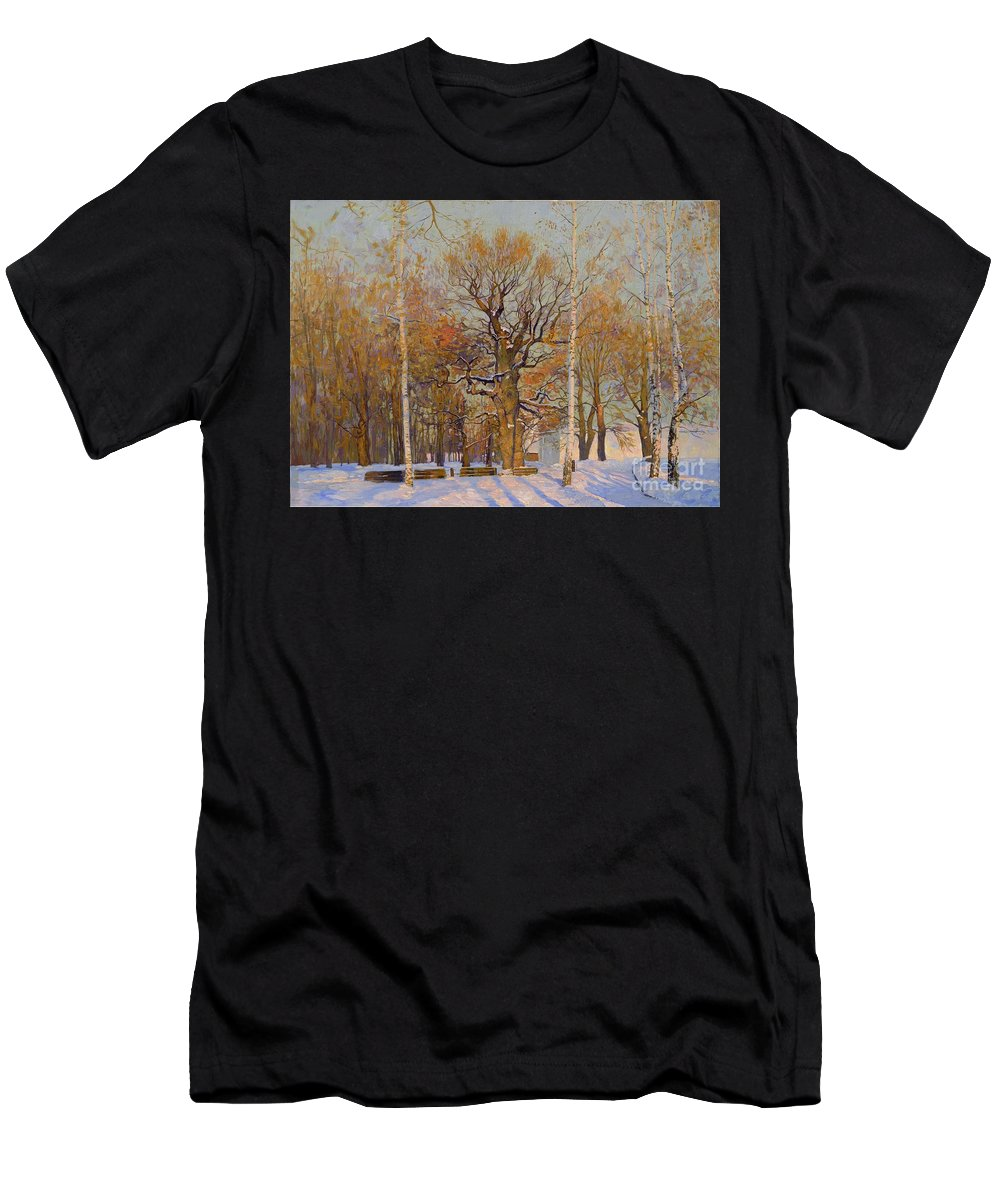 Landscape Men's T-Shirt (Athletic Fit) featuring the painting Old Oak-tree In Kolomenskoye by Simon Kozhin