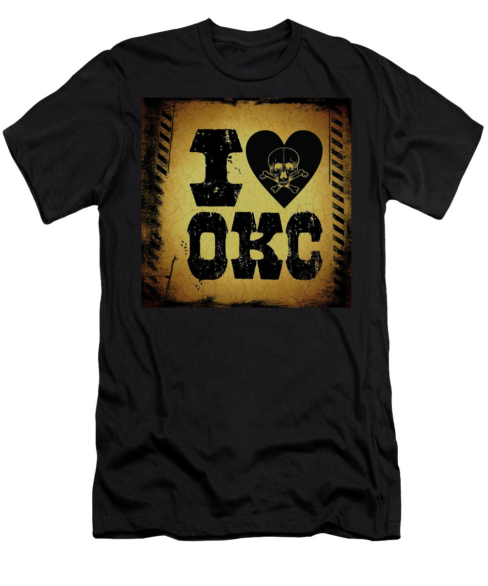 Okc Men's T-Shirt (Athletic Fit) featuring the digital art Old Oklahoma City by Randolph Ping