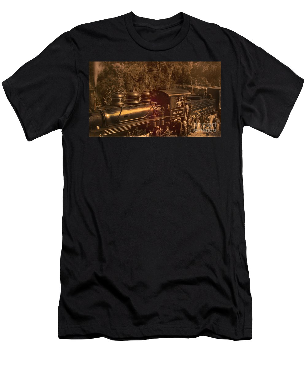 Canar Men's T-Shirt (Athletic Fit) featuring the photograph Old Railway Through Cuenca by Al Bourassa