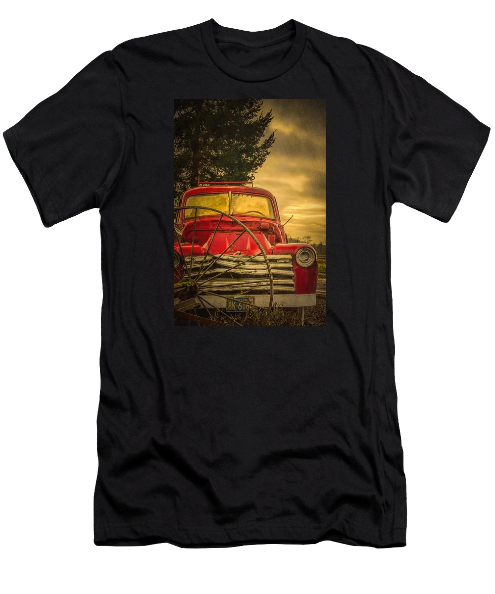 Barn Men's T-Shirt (Athletic Fit) featuring the photograph Old Red Truck by Don Schwartz