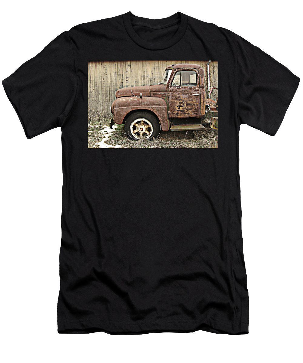 Truck Men's T-Shirt (Athletic Fit) featuring the photograph Old Rust Truck by Karen Smith
