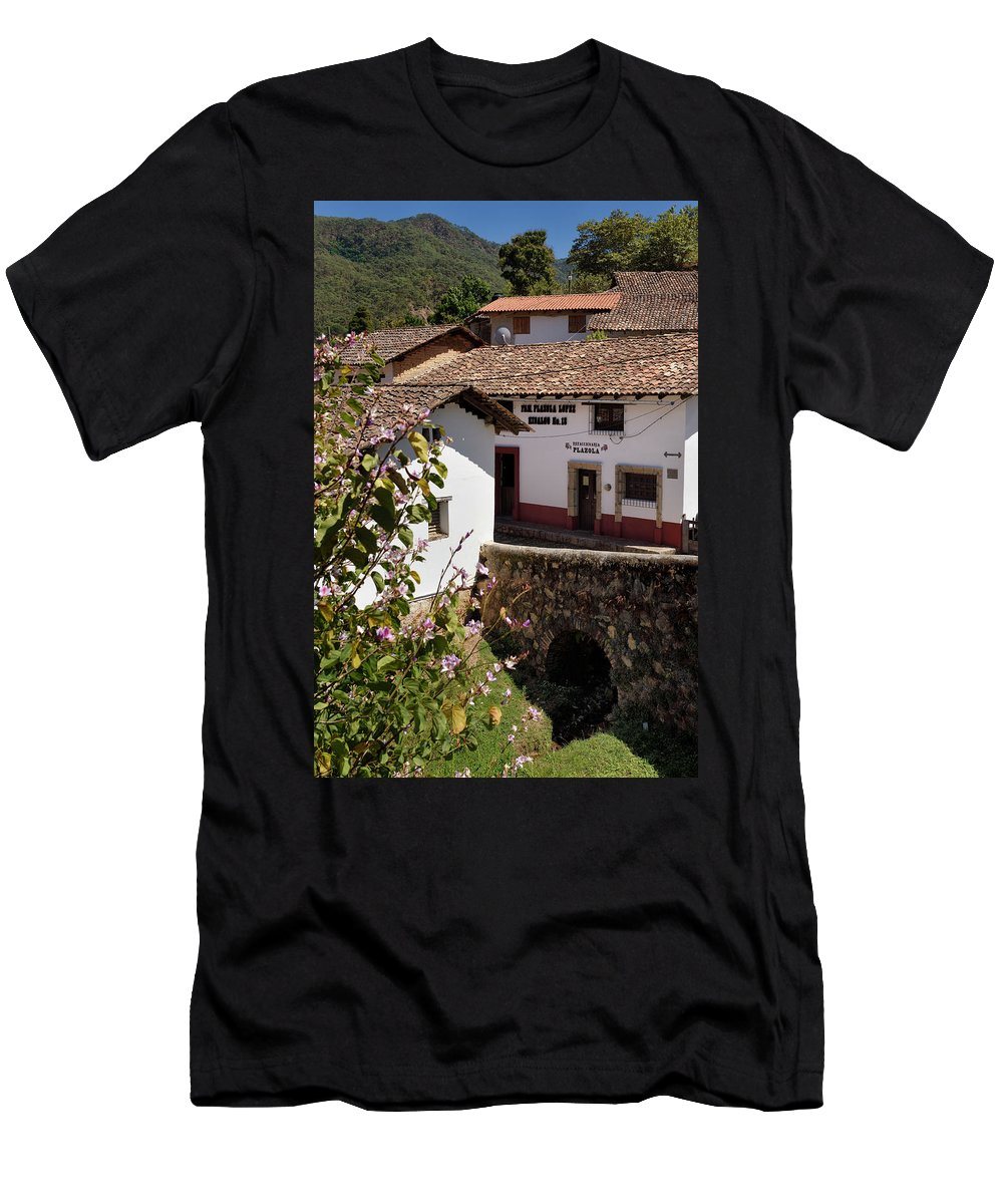 Old Men's T-Shirt (Athletic Fit) featuring the photograph Old Stone Bridge In Historic Hillside Village Of San Sebastian D by Reimar Gaertner