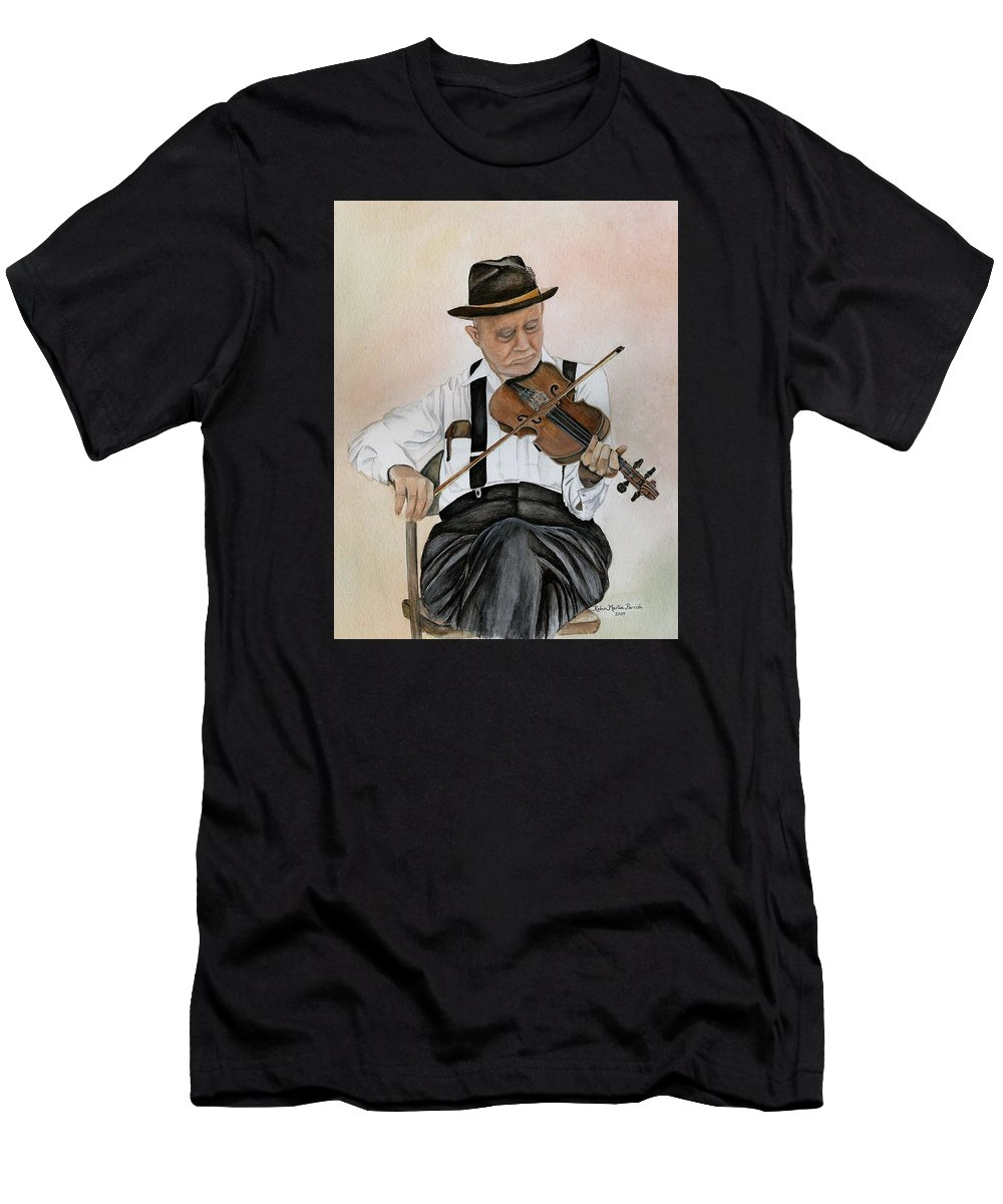 Fiddle Men's T-Shirt (Athletic Fit) featuring the painting Old Time Fiddler by Robin Martin Parrish